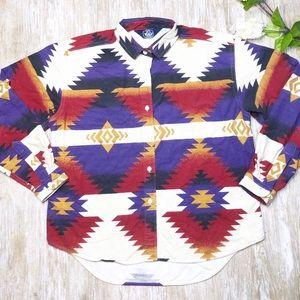 {Woolrich} Vintage 1980's Aztec Button Down Shirt